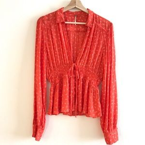 Free People Red Floral Peplum Button Blouse